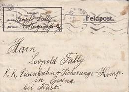 Feldpostbrief Wien Nach K.k. Eisenbahnsicherungs Komp. Opcina Bei Triest - 1916 (38538) - 1850-1918 Imperium