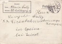 Feldpostbrief Wien Nach K.k. Eisenbahnsicherungs Komp. Opcina Bei Triest - 1916 (38540) - 1850-1918 Imperium