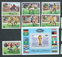 Liberia 1974 Munich Soccer World Cup Set 7 & Miniature Sheet MNH - Fußball-Weltmeisterschaft