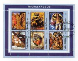 GUINEA BISSAU - 2001 - Foglietto Tematica  Arte - Michelangelo - 6 Valori - Con Doppio Annullo - (FDC13560) - Guinée-Bissau