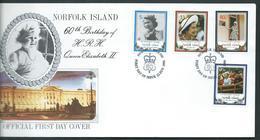 Norfolk Island 1986 QEII 60th Birthday Set 4 On FDC Official Unaddressed - Norfolk Island