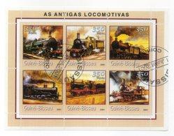 GUINEA BISSAU - 2001 - Foglietto Tematica  Trasporti - Treni (Locomotive) - 6 Valori - Con Doppio Annullo - (FDC13562) - Guinea-Bissau
