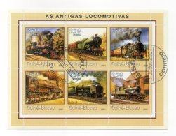 GUINEA BISSAU - 2001 - Foglietto Tematica  Trasporti - Treni (Locomotive) - 6 Valori - Con Doppio Annullo - (FDC13563) - Guinea-Bissau