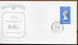 1978 Coronation Anniversary 20p Value FDC - Guernsey