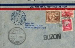 "1941 , COLOMBIA , CORREO AÉREO , BARRANQUILLA - RIOHACHA , TRÁNSITO DE VALLEDUPAR , MARCA "" BUZÓN "" - Colombia"