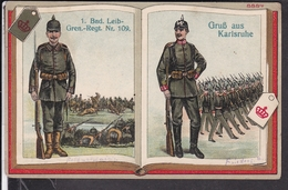 Regimentskarte  1.Bad.Leib-Gren.Regt. Nr. 109  Karlsruhe  1916 - Régiments