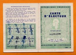BRIOUDE 43  ( CARTE D' ELECTEUR DE 1967 ) - Cartes