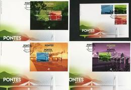 "PORTUGAL/ AZORES/ MADEIRA  - EUROPA 2018 -""PUENTES.-BRIDGES -BRÜCKEN -PONTS""- 3 FDC'S: HOJITAS  BLOQUE + 1 FDC 3 SERIES - 2018"