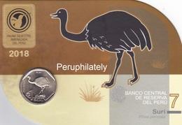 PERU 2018 , BIRD SURI , COIN ON CARD , MINT - Pérou