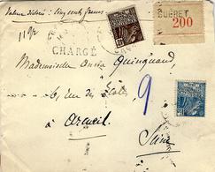1931-enveloppe RECC. CHARGE V D 500 F.  De GUERET ( Creuse ) Affr. à1,40 F  Femme Fachi - Marcophilie (Lettres)