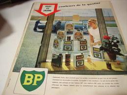 ANCIENNE PUBLICITE VERT ET JAUNE HUILE BP ENERGO  1960 - Transport