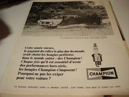 ANCIENNE PUBLICITE GAGNANT DU RALLYE  BOUGIE CHAMPION 1969 - Transport