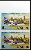 NAURU 1980 Airplane Melbourne 15c IMPERF.MARG PAIR Canada-related - Nauru