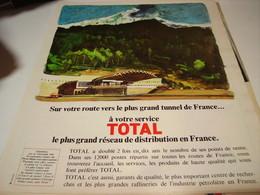 ANCIENNE PUBLICITE CHAMONIX LE PLUS GRAND TUNNEL  AVEC TOTAL 1969 - Transport