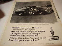 ANCIENNE AFFICHE PUBLICITE AVEC FERRARI  BOUGIE CHAMPION 1967 - Transport