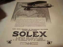 ANCIENNE PUBLICITE I ER TRAVERSE PARIS NEW YORK  SOLEX 1930 - Transport