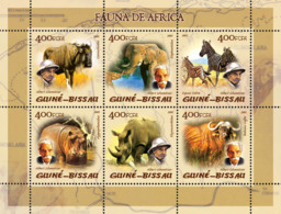 Guinea Bissau 2005  Fauna Of Africa Elephants Rhino Hippo  A. Schweitzer - Guinea-Bissau