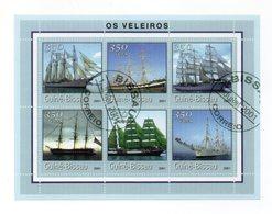 GUINEA BISSAU - 2001 - Foglietto Tematica  Trasporti - Barche (Velieri) - 6 Valori - Con Doppio Annullo - (FDC13565) - Guinea-Bissau