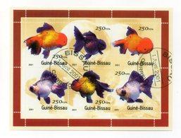 GUINEA BISSAU - 2001 - Foglietto Tematica  Animali - Pesci - 6 Valori - Con Doppio Annullo - (FDC13568) - Guinea-Bissau