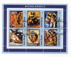 GUINEA BISSAU - 2001 - Foglietto Tematica  Arte - Michelangelo - 6 Valori - Con Doppio Annullo - (FDC13571) - Guinea-Bissau