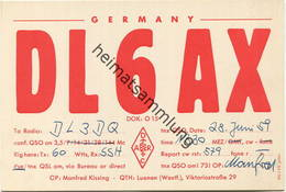 QSL - Funkkarte - DL6AX - Lünen - 1959 - Amateurfunk