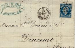 1867- Lettre De Serquigny ( Eure ) Cad AMB. PARIS A CHERBOURG  B  Affr. N°22 Oblit. Los.  P C - Marcophilie (Lettres)
