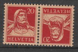 SVIZZERA - 1916 Guglielmo Tell -  C.20+20 - K19  Coppia Tete-beche Nuovi** Perfetti - Zusammendrucke