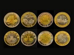 China 10 YUAN 1997/99 Return Of Hong Kong And Macau 1 Set Of 4 Coins Commemorative UNC - Chine