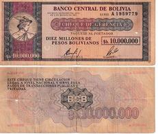 Bolivie 10.000.000 Bolivanos - Bolivie