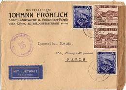 AUTRICHE YT N°624 ET 629 OBLITERES SUR LETTRE POUR LA FRANCE CENSURE - 1945-60 Briefe U. Dokumente