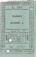 PALERMO - BAGHERIA  /  AST  Azienda Siciliana Trasporti _ Biglietto Da Lire 180 - Bus
