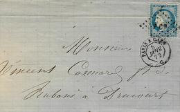 1872- Lettre De Brienne   Cad AMB. PARIS A CAEN  C  Jour   Affr. N°60 Oblit.los. P Cn - Marcophilie (Lettres)