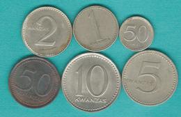 No Date (ND) - 50 Lwei (KM83) 1 Kwanza (KM84) 2 Kwanza (KM85) 5 Kwanza (KM86) 10 Kwanza (KM87) & 50 Kwanza (KM90) - Angola