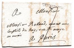 Lettre Narbonne 1756 Languedoc Aude Pour Paris Durban - Marcofilie (Brieven)