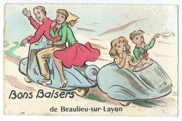 CPA Beaulieu Sur Layon Scooter Vespa - France
