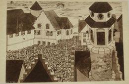 """Comic, Jean Drarz"" 1933, A Glorious Sunday, Hearing The Carillon ♥  - Humor"