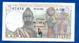 B A O -  5 Francs 19/12/1952  -  état SUP - États D'Afrique De L'Ouest