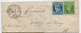 AISNE De NOGENT L ARTAUD LAC  Du 03/10/1871 Avec N°37+ N°20  Oblitérés GC 4454+ Dateur T 24 - 1849-1876: Classic Period