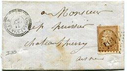AISNE De NOGENT L ARTAUD LSC En Port Local Du 31/10/1867 Avec N°21  Oblitéré GC 4454+ Dateur T 22 - 1849-1876: Classic Period