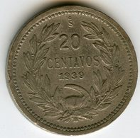 Chili Chile 20 Centavos 1939 KM 167.3 - Chili