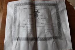 Diplome Sur Velin Legion D'Honneur Officier  Pour Le Colonel Grossin 1912 - Diplômes & Bulletins Scolaires