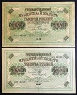 Russia 1000 Rubli Rubles 1917 2 Banknotes  LOTTO 2377 - Russia