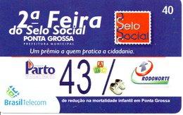 Télécarte Brésil Timbre Stamp  - 2ème Féria Phonecard  (G 649) - Timbres & Monnaies