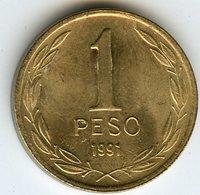 Chili Chile 1 Peso 1991 KM 216.2 - Chili