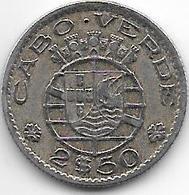 *Cape Verde 2,5 Escudo 1953  Km 9  Vf+ - Cape Verde