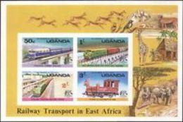 74746) Uganda 1976 Treni/vapore/Ferrovia/FERROVIE/Ponti/trasporto 4v-MNH** - Uganda (1962-...)