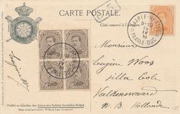 204/28 - Cachet à Etoiles BAARLE-HERTOG (DUC) 1916 Vers VALKENSWAARD NL - TP Petit Albert S/ Carte Illustrée Bastien - Poststempels/ Marcofilie