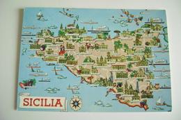 SICILIA    Carte Geographique   CARTINA GEOGRAFICA   MAPPA MAPS   VIAGGIATA - Carte Geografiche