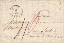 LETTRE SUISSE. 17 AVRIL 1843. ATTEMBERG BERN POUR LOCLE. TAXE PLUME 4 NOIRE, 6 ROUGE. 4 PAGES CORRESPONDANCE - ...-1845 Prefilatelia