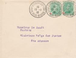 208/28 -  Lettre TP CROIX ROUGE 5 C X 2 - STE ADRESSE 1916 Vers Un Facteur Au Ministère Des Postes - SUPERBE - 1918 Rotes Kreuz